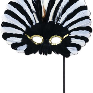 feathered mask with stick - black & white Case of 12