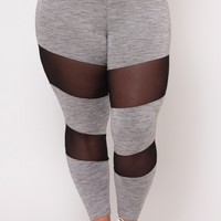 Plus Size Mesh Thigh Inset Joggers - Grey