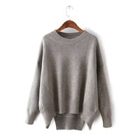Batwing Sleeve Round-neck Pullover Vintage Winter Sweater [9017735876]