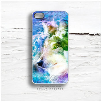 iPhone 4 and iPhone 4S case, Wolf with Geometric Crystal Pattern iPhone case design, Tribal Wolf iPhone cover T142