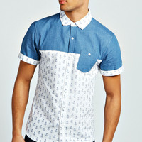 Short Sleeve Nautical Print Denim Shirt