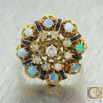 Vintage Estate Antique Victorian Style 14k Gold .42ctw Diamond Opal Cluster Ring