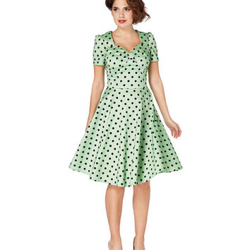 Voodoo Vixen Green Flocked Polka Dot Swing Dress