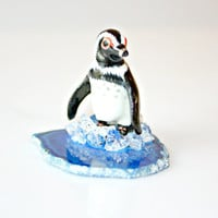 Arctic Penguin on Agate Slice Sculpture - Porcelain Penguin Miniature Figurine Arctic Blue Agate Slice Home Decor Collectible by Mei Faith