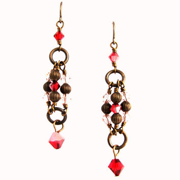 Vintage Style French Earrings of Deep Crimson and Rose Swarovski Crystals Vintaj Natural Brass Links Beads and French Earwires