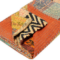 Indian Twin Size Patchwork Bedspread Kantha Reversible Quilt Floral Throw 4116