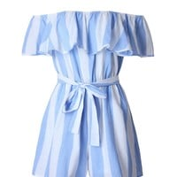Streetstyle  Casual Off Shoulder Flounce Vertical Striped Romper