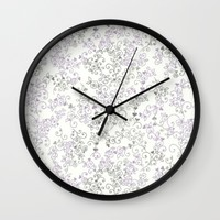 purple victorian Wall Clock by Pink Berry Patterns