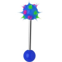Blue Green Pink Neon Silicone Spike Barbell Tongue Ring