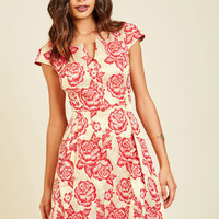 Belle Beginnings A-Line Dress in Roses | Mod Retro Vintage Dresses | ModCloth.com