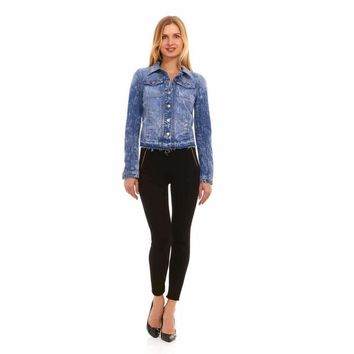 Red Jeans Women's Destroyed Denim Acid Wash Blue Denim Jacket