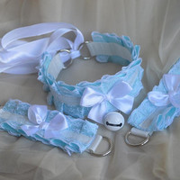 Kitten play collar and cuffs - Witer sky - ddlg cgl princess cute neko sweet kawaii lolita costume - blue white choker set with bell