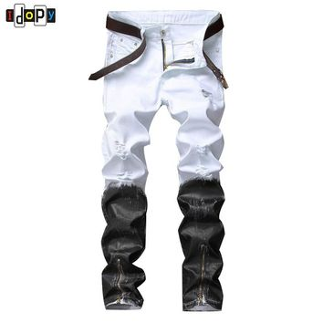 Punk Style Black And White Meet Casual Mens Biker Jeans Night Club Slim Fit Printed With Zippers Joggers Pants For Men