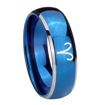 8MM Glossy Blue Dome Aries Zodiac Tungsten Carbide 2 Tone Laser Engraved Ring