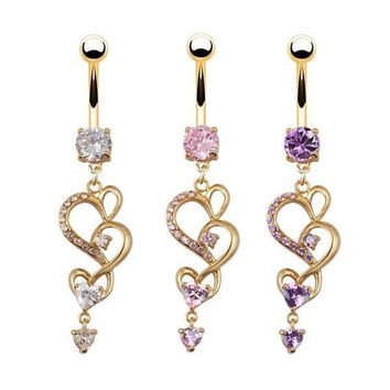 New Style Heart Crystal Rhinestone Navel Ring Belly Piercing Jewelry Gold Plated Button Bar Ring = 5987777921