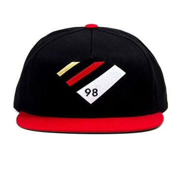DIAMOND SUPPLY 98 SNAPBACK HAT BLUE RED