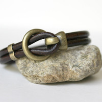 Men's Smooth Chocolate Brown Leather Bracelet With Antiqued Brass Hook Clasp