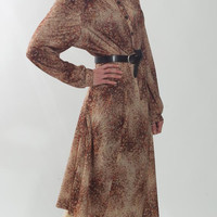 1970's Brown Dress - Vintage 1980's Sundress Formal Floral Print Indie Garden Secretary Boho Hippie Cocktail Day Midi Shirt Gown Size: M L