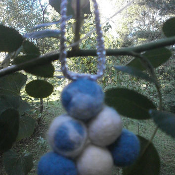 Felted balls,hand wet wool,felt Christmas ornaments,beautiful decoration for Christmas tree, red blue white balls ,sewn beads,nice for gift.