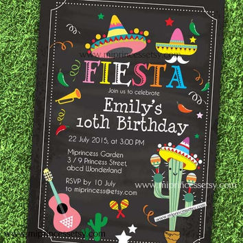 Mexican Fiesta Birthday invitation, Fiesta Party Birthday Invitation for any age, Whimsical design Colorful Festive birthday - card 579