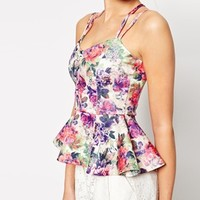 ASOS Peplum Top with Strap Detail in Floral Print
