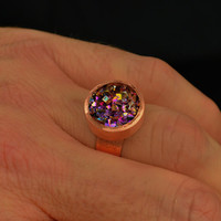 Custom Order Yours, Copper Barrel Ring from my Nolanproof Line with Free Cedar Box, Iridescent Bismuth Metal Crystal, Jewelry