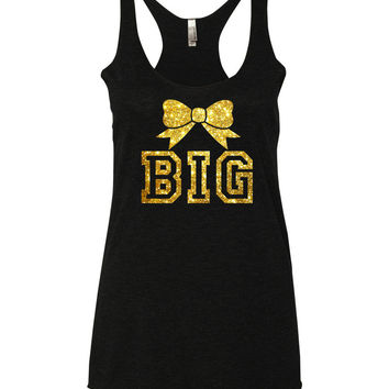 Big and Little Sorority Bow Tanks with Glitter Print