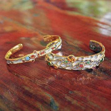 Doublet opal & multi-color sapphires bangle, Delicate silver open bangle bracelet, Gift for her, Bridal set, Bridesmaid gift, Thailand