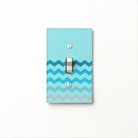 Blue Glitter Chevron Zigzag Light Switch Cover