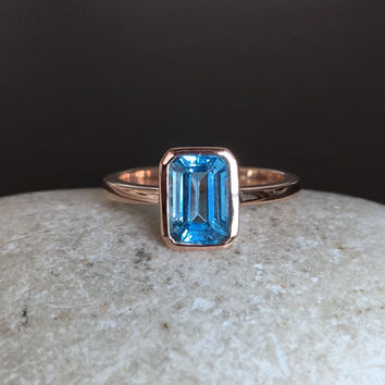 9k Rose Gold Blue Topaz Ring- December Birthstone Ring- Promise Ring for Her- Swiss Blue Topaz Ring- Gemstone Ring- Octagon Cut Ring