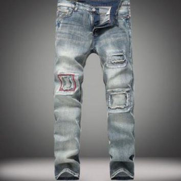 New Fashion Summe Mens holes Jeans Patch Slim Fit Skinny Ripped Men Jeans Streetwear Vintage Jeans Size 28-38