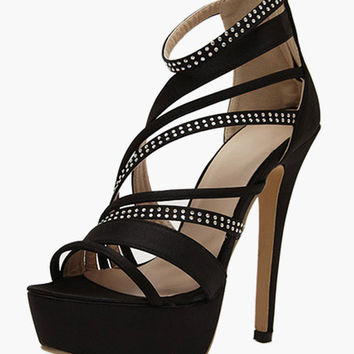 Textile Stiletto Heel Gladiator Sandals