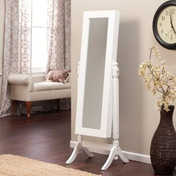 Heritage Jewelry Armoire Cheval Mirror - High Gloss White | www.hayneedle.com