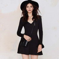 Lotus Sleeve A-Line Skirt Dress in Black