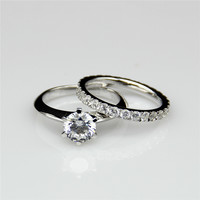 Classic 6 Prong 1ct Round Esdomera Moissanites Solitaire Accents Ring Band 9k White Gold Wedding Bridal Set Wedding Rings