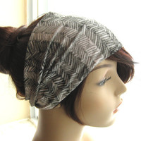 Grey Herringbone Design Turban, Head Wrap, Wide Hair Tube, Women's Yoga Wrap, Turband, Slip On Headband