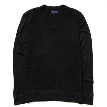 Wool Nylon Jersey V-Neck Sweater
