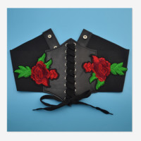 The new fashion belt wear roses embroidered waist thin waist