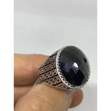 Vintage 1970's Gothic Sterling silver  Genuine Black Onyx Men's Ring