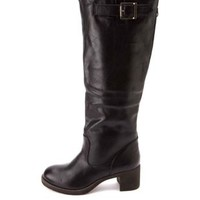 Bamboo Block Heel Knee-High Riding Boots by Charlotte Russe - Black