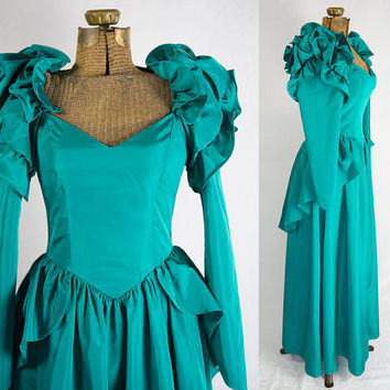 Vintage Emerald Bustle Peplum Victorian Party Prom Dress 80s L
