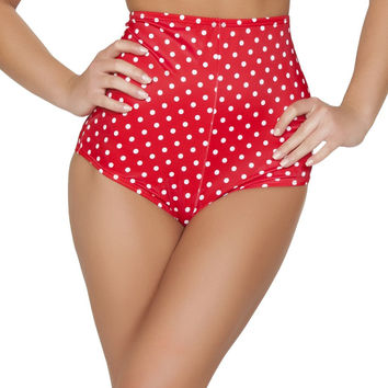 Red and White Pinup Style High-Waisted Shorts
