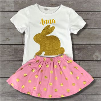 Pink & Gold Dot Bunny Skirt Set