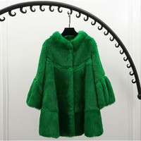 2017 new  autumn and winter real rabbit  fur coat jacket and long sections loose large size women