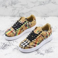 Burberry x Nike AIR FORCE 1 Low AF1 Vintage Check Cotton Sport Shoes - Sale