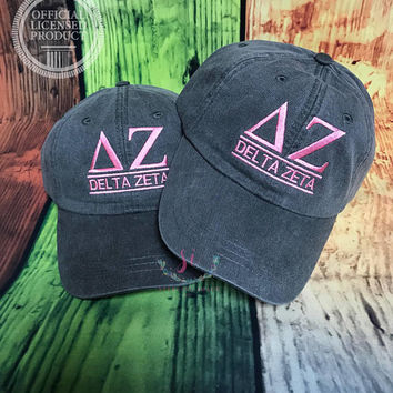 Embroidered Hat, Sorority Hat, Distressed Hat, Delta Zeta, Custom Hat, Unstructured Hat