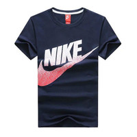 Trendsetter NIKE Woman Fashion Print Short Sleeve Scoop Neck Tunic Shirt Top Blouse