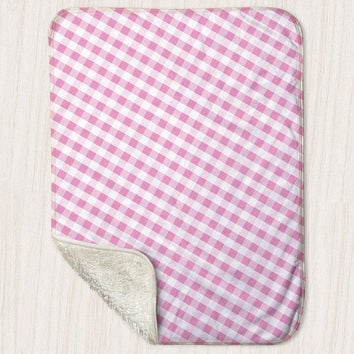 "Pink Gingham Pattern Baby Blanket - Sherpa Fleece Blanket Size 30"" x 40"" - Made to Order"