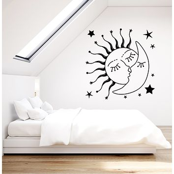 Vinyl Wall Decal Sun Kissing Moon Stars Romantic Bedroom Stickers Mural (g2632)
