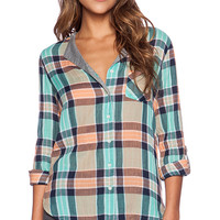 C&C California Split Neck Crinkle Plaid Shirt in Blue